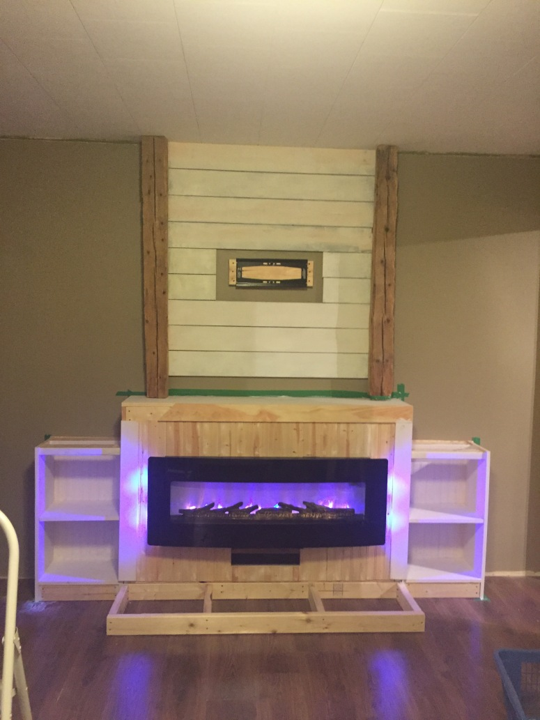 Barn Beam Inspired Fireplace
